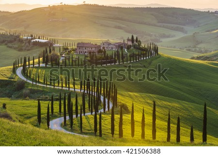 Panoramic view of a spring day in the Italian rural landscape. - stock photo