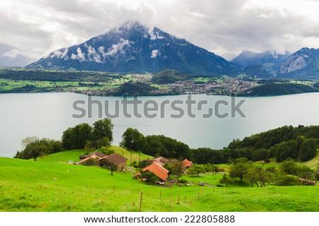 Panoramic view of a Thun Lake, Switzerland - stock photo