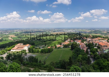 Panoramic view of a typical old town in Tuscany Italy - stock photo