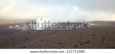 Panoramic view of active Kilauea volcano crater, Hawaii Volcanoes National Park, Big Island - stock photo