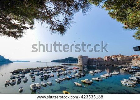 Panoramic view of Adriatic Sea from Dubrovnik, Croatia - stock photo