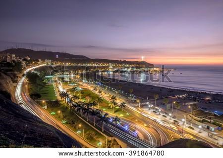 Panoramic view of Aguadulce beach in the sunset, Chorrillos, Lima, Peru. - stock photo