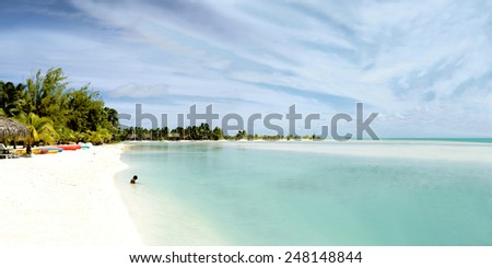 Panoramic view of Aitutaki lagoon - stock photo