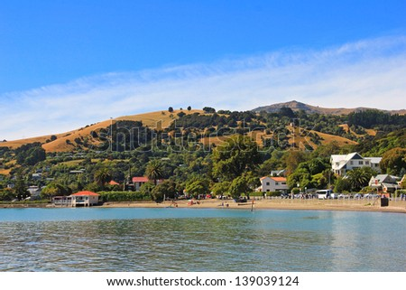 Panoramic view of Akaroa, New Zealand