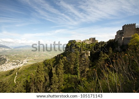 panoramic view of ancient fortresses of Erice town, Sicily, Italy