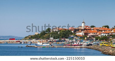 Panoramic view of ancient town on the Black Sea coast. Nesebar, Bulgaria - stock photo