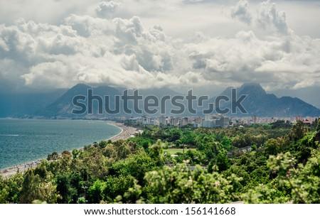 Panoramic view of Antalya city. It is biggest international sea resort in Turkey - stock photo