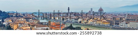 Panoramic view of Arno River. Florence, Tuscany, Italy. - stock photo