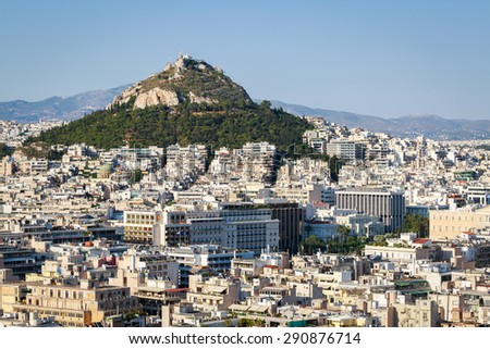 Panoramic view of Athens from the acropolis - stock photo
