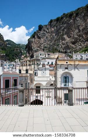 Panoramic view of Atrani in the Amalfi Coast, Italy - stock photo