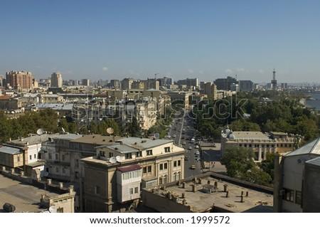 Panoramic view of Baku, Azerbaijan. - stock photo