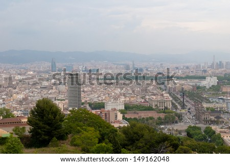 Panoramic view of Barcelona city in Spain.