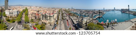 panoramic view of Barcelona from  Columbus monument. Spain - stock photo