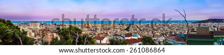 Panoramic view of Barcelona from Park Guell in a summer day in Spain - stock photo
