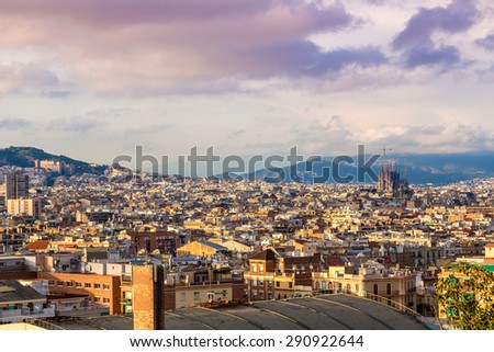 Panoramic view of Barcelona from Park Guell in a summer day in Spain