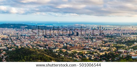 Panoramic view of Barcelona from Park Guell in a summer evening in Spain