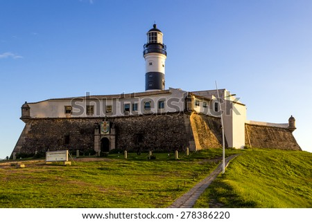 Panoramic view of Barra Lighthouse in Salvador, Bahia, Brazil on a sunny summer day. - stock photo