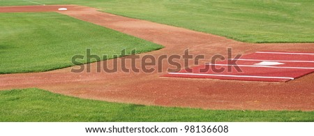 Panoramic view of baseball diamond, looking down the first base line - stock photo