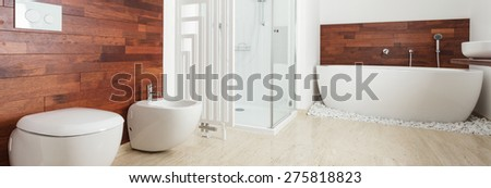 Panoramic view of bathroom interior in african style