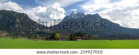 Panoramic view of Bavarian mountain landscape with the Neuschwanstein castle (Bavaria, Germany).