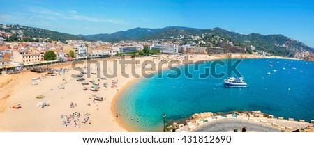 Panoramic view of beach at Tossa de Mar. Costa Brava, Catalonia, Spain - stock photo