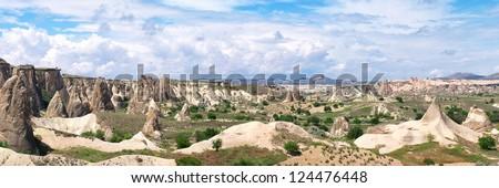 Panoramic view of beautiful Cappadocia mountain valley - stock photo