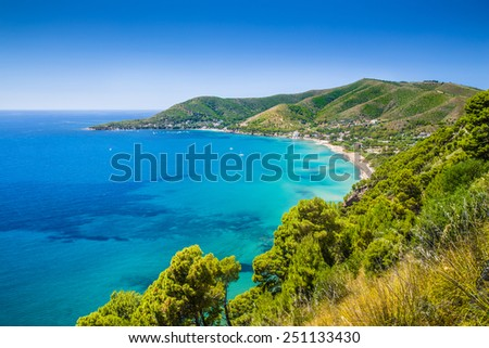 Panoramic view of beautiful coastal landscape at the Cilentan Coast, province of Salerno, Campania, southern Italy - stock photo