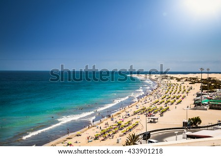 Panoramic view of beautiful Maspalomas beach in Gran Canaria. Spain. - stock photo