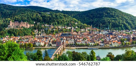 Panoramic view of beautiful medieval Heidelberg town. Germany