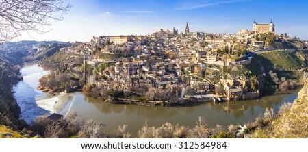 panoramic view of beautiful medieval Toledo, Spain. UNESCO site - stock photo