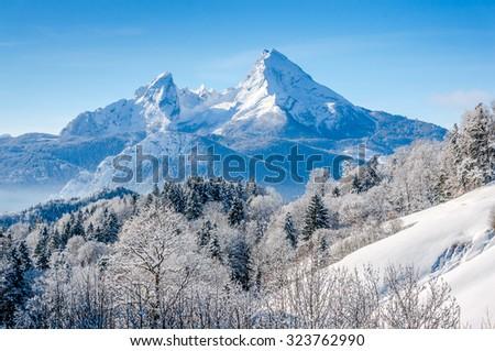 Panoramic view of beautiful winter landscape in the Bavarian Alps with famous Watzmann massif, Nationalpark Berchtesgadener Land, Bavaria, Germany - stock photo