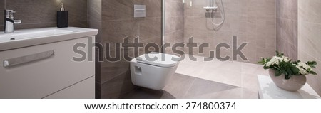 Panoramic view of beige elegant washroom interior - stock photo
