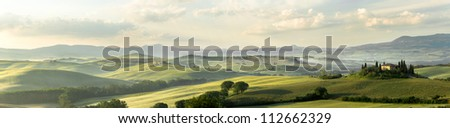 Panoramic view of Belvedere house in the hills of Tuscany Italy in San Quirico d'Orcia