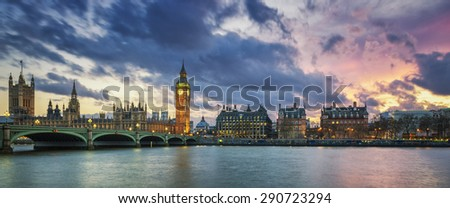 Panoramic view of Big Ben in London at sunset, UK.  - stock photo