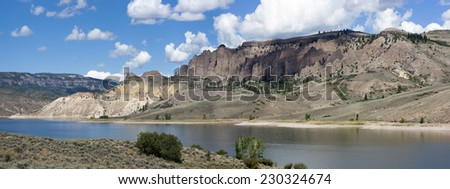 Panoramic view of Blu Mesa Reservoir over Gunnison River. - stock photo