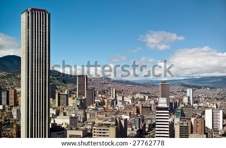 Panoramic view of Bogota, Colombia - stock photo