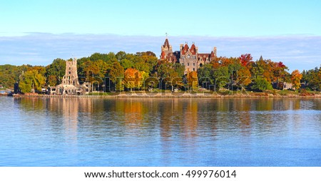 Panoramic view of Boldt Castle, Thousand Islands, USA
