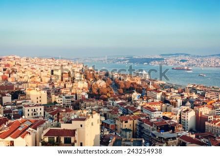 Panoramic view of  Bosphorus from Galata tower, Istanbul, Turkey - stock photo