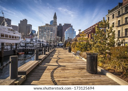 Panoramic view of Boston harbor and Financial District in Boston, Massachusetts, USA on a sunny summer day of June 20, 2013. - stock photo