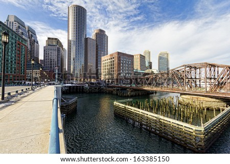 Panoramic view of Boston Harbor and Financial District in Massachusetts, USA
