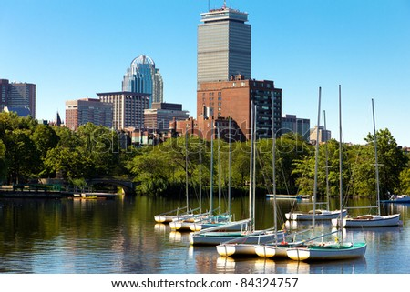 Panoramic view of Boston in Massachusetts, USA. - stock photo