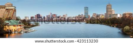 Panoramic view of Boston in Massachusetts, USA at night. - stock photo