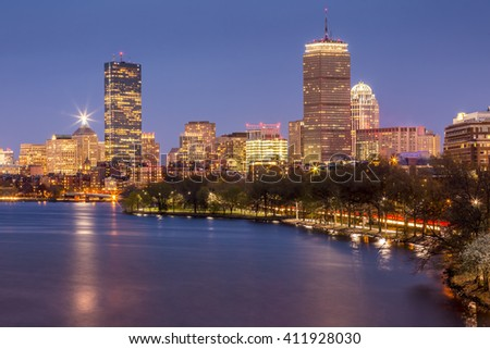 Panoramic view of Boston in Massachusetts, USA at night showcasing its mix of modern and historic architecture. - stock photo