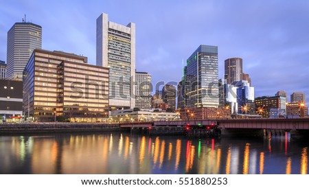 Panoramic view of Boston in Massachusetts, USA at sunrise showcasing its mix of contemporary and historic architecture at it Financial District in the North End of the city.