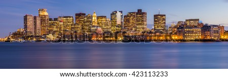 Panoramic view of Boston in Massachusetts, USA at sunset showcasing it mix of modern and historic architecture.