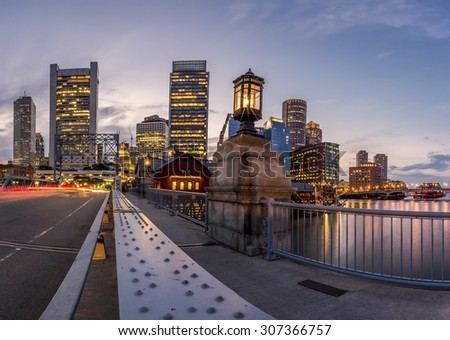 Panoramic view of Boston in Massachusetts, USA at sunset showcasing its mix of modern and historic architecture at Back Bay.