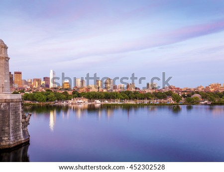Panoramic view of Boston in Massachusetts, USA at sunset showcasing its mix of modern and historic architecture at Back Bay. - stock photo