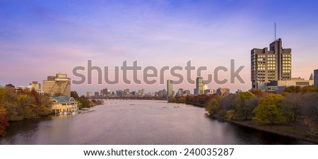 Panoramic view of Boston in Massachusetts, USA at sunset showcasing the architecture of Back Bay at sunset.