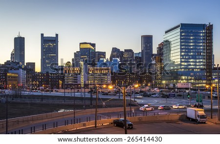 Panoramic view of Boston in Massachusetts, USA at sunset showcasing the architecture of its Financial District at Back Bay. - stock photo
