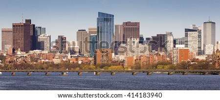 Panoramic view of Boston in Massachusetts, USA on a sunny summer day. - stock photo
